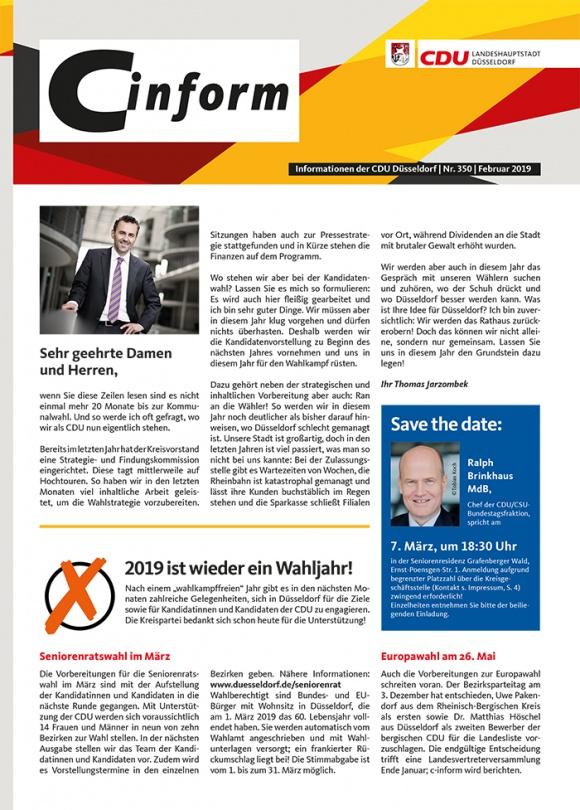 zur Hauptnavigation zur Seitenübersicht im Seiten-Footer 350. Ausgabe C-Inform: Mitgliedermagazin Februar 2019
