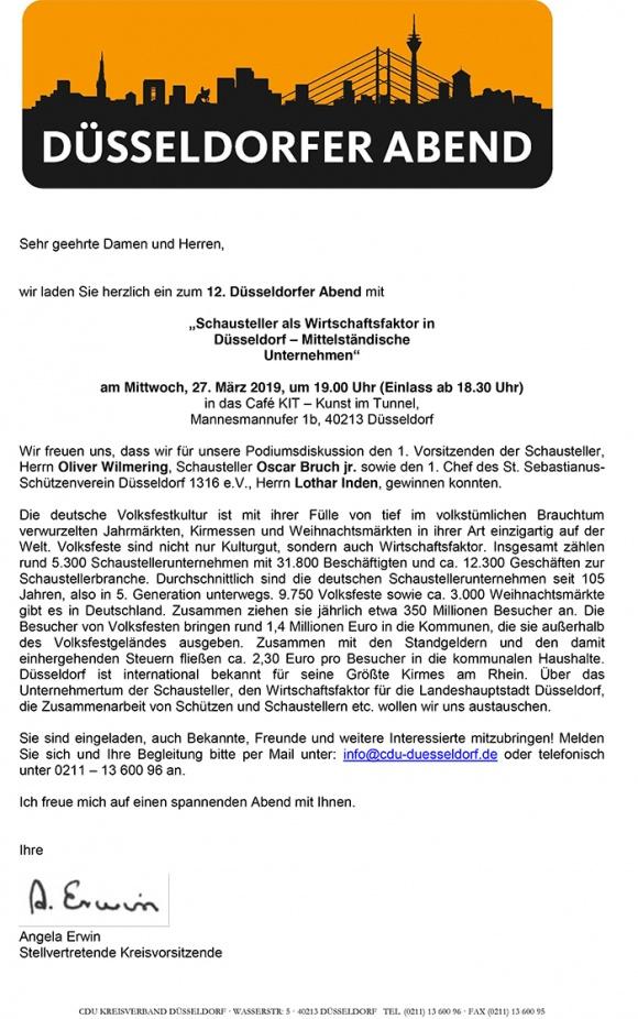"""12. Düsseldorfer Abend: """"Schausteller als Wirtschaftsfaktor in Düsseldorf – Mittelständische Unternehmen"""""""